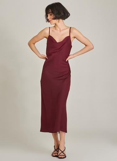 Agenda Degaje Yaka Askılı Elbise Bordo